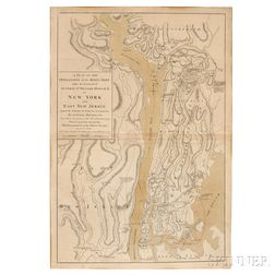 Revolutionary War Map, New York and New Jersey. William Faden (1750-1836) and Claude Joseph Sauthier (1736-1802) A Plan of the Operatio