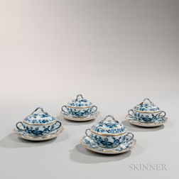 """Ten Meissen """"Blue Onion"""" Pattern Porcelain Covered Cups and Saucers"""
