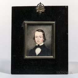 American School, Early 19th Century      Miniature Portrait of a Young Man