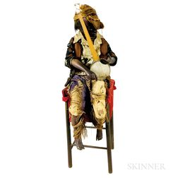 Carved and Painted Automaton of a Boy Playing the Banjo