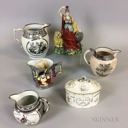 Six Silver Lustre Commemorative Ceramic Items