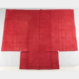 Red Quilted Woolen Coverlet