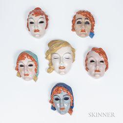 Six Rudolf Podany (Austrian, 1876-1967) Polychrome Wall Masks for Keramos