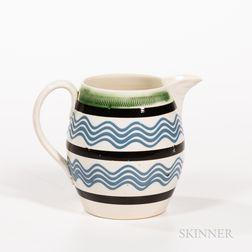 Slip-decorated Creamware Barrel-form Pitcher