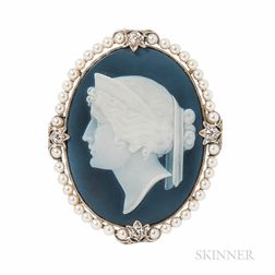 Platinum and Assembled Cameo Brooch