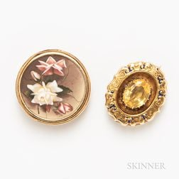 Two Gold Brooches