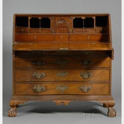 Chippendale Carved Mahogany Oxbow Desk