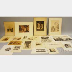 Approximately Nineteen Unframed Works on Paper:      After Joseph Mallard William Turner (British, 1775-1851), Penbury Mill, Kent