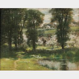 John Appleton Brown (American, 1844-1902)      View of Geese by a Pond in Spring