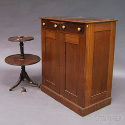 George III Mahogany Two-tier Dumbwaiter and a Davenport Two-drawer Walnut Cabinet