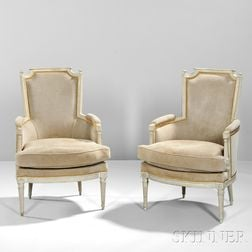 Two Louis XVI-style Painted Bergeres