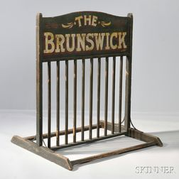 "Green- and Gray-painted and Paint-decorated Pine and Iron ""THE BRUNSWICK"" Bike Rack"