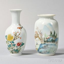 Two Famille Rose Cabinet Vases