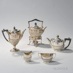 Five-piece Assembled Victorian/Edward VII Sterling Silver Tea and Coffee Service
