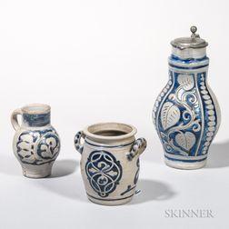 Three Cobalt-decorated Westerwald Stoneware Items