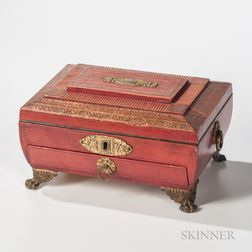 Gilt Red Leather Classical Sewing Box