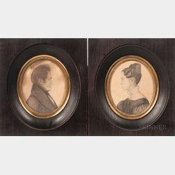 American School, 19th Century      Pair of Miniature Portraits of Elihu Jewell Crane and Eliza Miller Crane