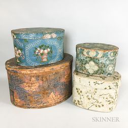 Four Wallpaper-covered Bentwood Boxes