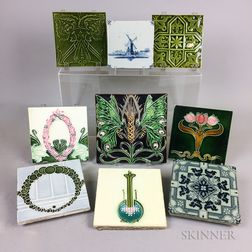 Nine Mostly Art Nouveau Glazed Ceramic Tiles