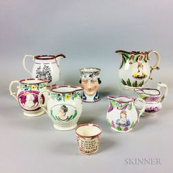 Eight Pink Lustre Commemorative Ceramic Items
