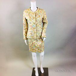 Oscar de la Renta Silk Brocade Suit
