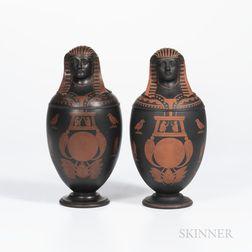 Pair of Encaustic Decorated Black Basalt Canopic Jars