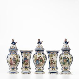 Five-piece Dutch Delft Garniture