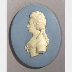 Wedgwood Solid Light Blue Jasper Portrait Medallion of Comtesse Meerman