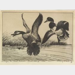 "Jay N. (""Ding"") Darling (American, 1876-1962)    Design For First Federal ""Duck Stamp"" - 1934"