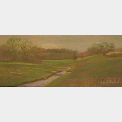 Framed 20th Century American School Oil on Canvas Spring Landscape,