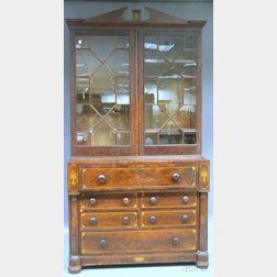 Classical Glazed Inlaid Mahogany and Mahogany Veneer Butler's Desk/Bookcase
