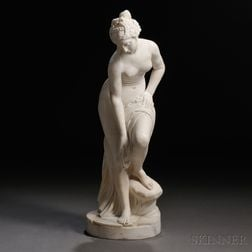 Italian School, Late 19th Century       Alabaster Statue of a Nude Maiden