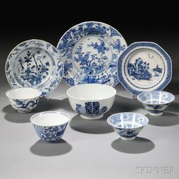 Eight Blue and White Tableware Items