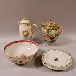 Two Chinese Export Porcelain Cider Jugs, a Punchbowl, and a Warming Dish