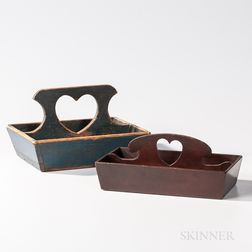Two Painted Cutlery Boxes with Heart Cutout Handles