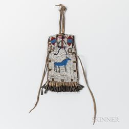 Plains Beaded Commercial Leather Effigy Pouch