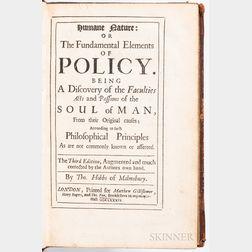 Hobbes, Thomas (1588-1679) Hobb's Tripos, in Three Discourses.