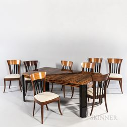 Zebrawood Dining Table with Eight Chairs and a Cabinet
