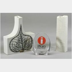 Two Arabia Ceramic Vases and Iittala Glass Paperweight