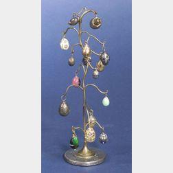 Gilt Metal Tree Suspending Eighteen Miniature Eggs
