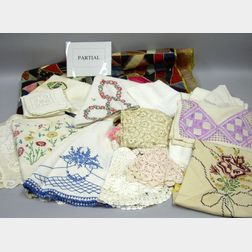 Box of Assorted Household Linens and a Crazy Quilt