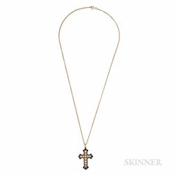 Antique 18kt Gold, Split Pearl, and Enamel Cross