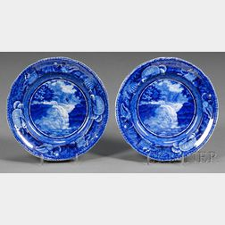 Blue Transfer-decorated Staffordshire Pottery Dessert Plates
