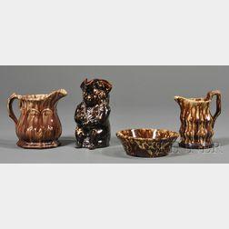 Four Rockingham Glazed Pottery Items