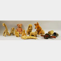 Five Steiff-like Stuffed Mohair Animal Toy Figures and Eight Assorted Stuffed Cloth   Animal Toy Figures