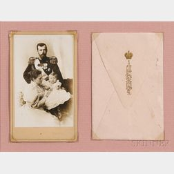 Sergei Lvovich Levitsky (Russian, 1819-1898)       Carte-de-visite of Tsar Nicholas II, Empress Alexandra, and Grand Duchess Olga