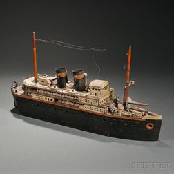 Carved and Painted Wood Model of an Ocean Liner