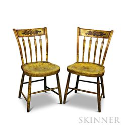 Pair of Paint-decorated Thumb-back Windsor Side Chairs