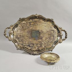 Large Silver-plated Tray and a Basket