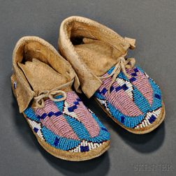Pair of Lakota Beaded Hide Child's Moccasins